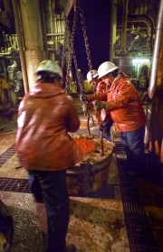 Drilling floor and rough necks. Hibernia offshore oil production platform on the Grand Banks of newfoundland 315km east of St. John's, Newfoundland.Photo by Greg Locke (C) 2006 www.greglocke.comFilm scan