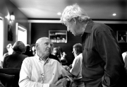 Godorn Pinsent (right), and Christopher Pratt (left), in restaurant in Woody Point, Photo by Greg Locke © 2009 Copyright.
