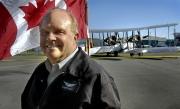 Pilot Steve Fossett and the Vickers Vimy before trans Atlantic Flight.