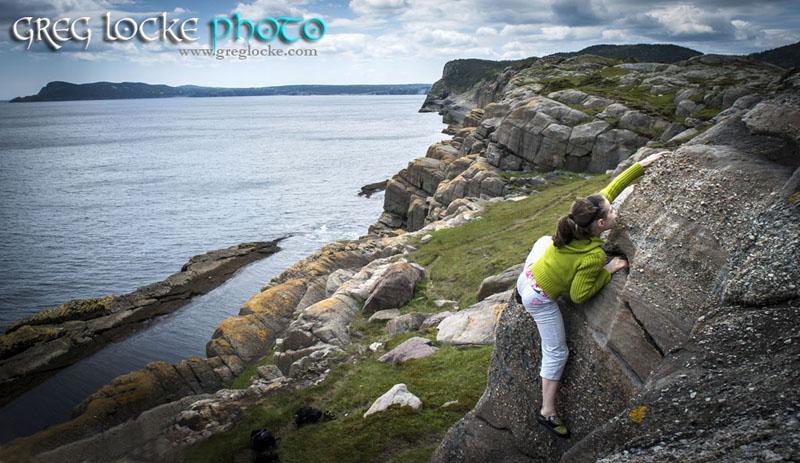 Rock climbing in Flatrock, Newfoundland by photographer Greg Locke © 2013 - www.greglocke.com
