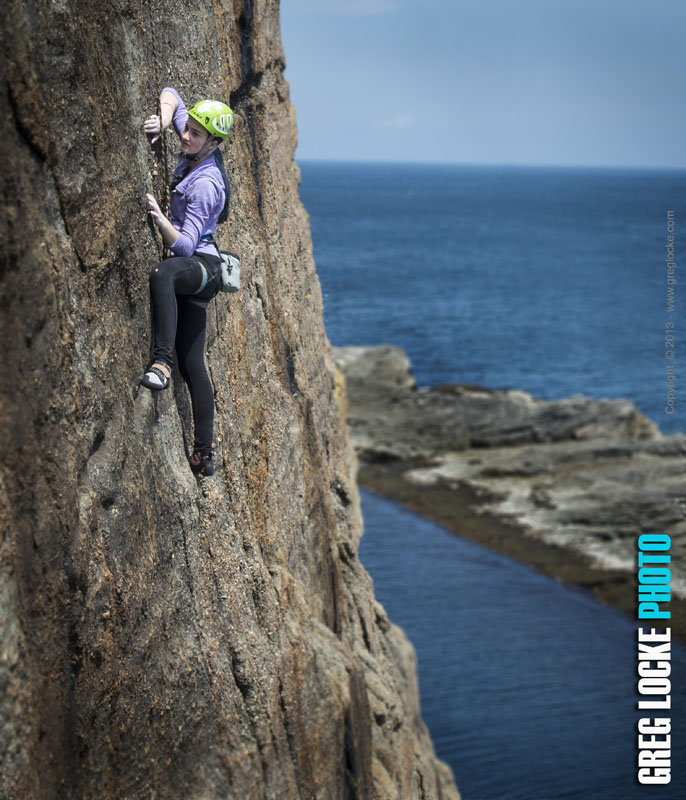 Rocking climbing by the ocean at Flatrock, Newfoundland. Greg Locke. © 2013