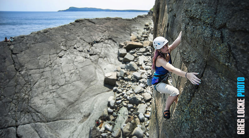 Erinn Locke climbing Yellow Fever at Flatrock, Newfoundland.