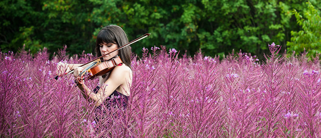 NSO violist Chantelle Jubenville in a field of Fireweed at Sugar Loaf, Newfoundland. Photo by Greg Locke © 2014