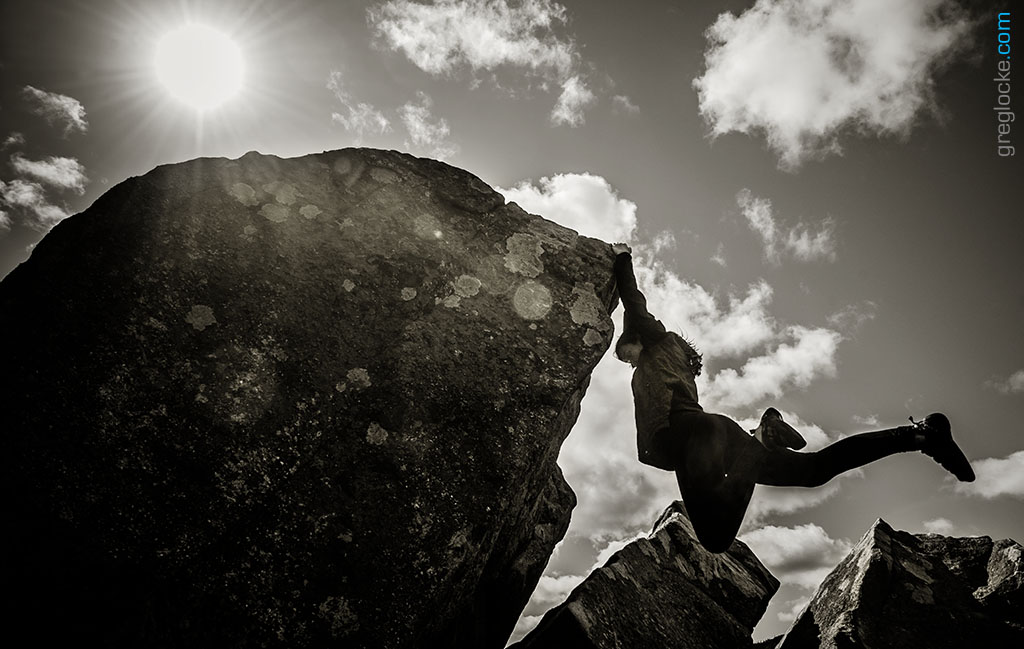 Rock climber Erinn Locke at Flatrock, Newfoundland. Photo by Greg Locke © 2014