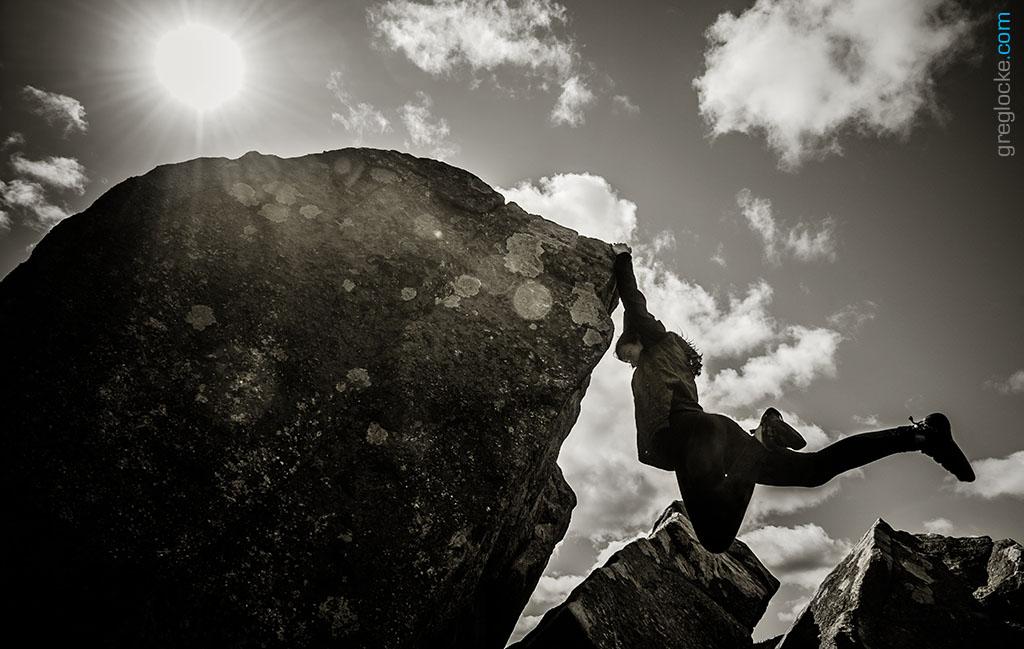 Rock climber Erinn Locke at Flatrock, Newfoundland. Photo by Greg Locke © 2014